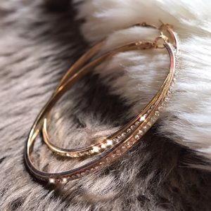 Jewelry - 🆕 Sparkle Crystal Stone Gold Hoop Earrings